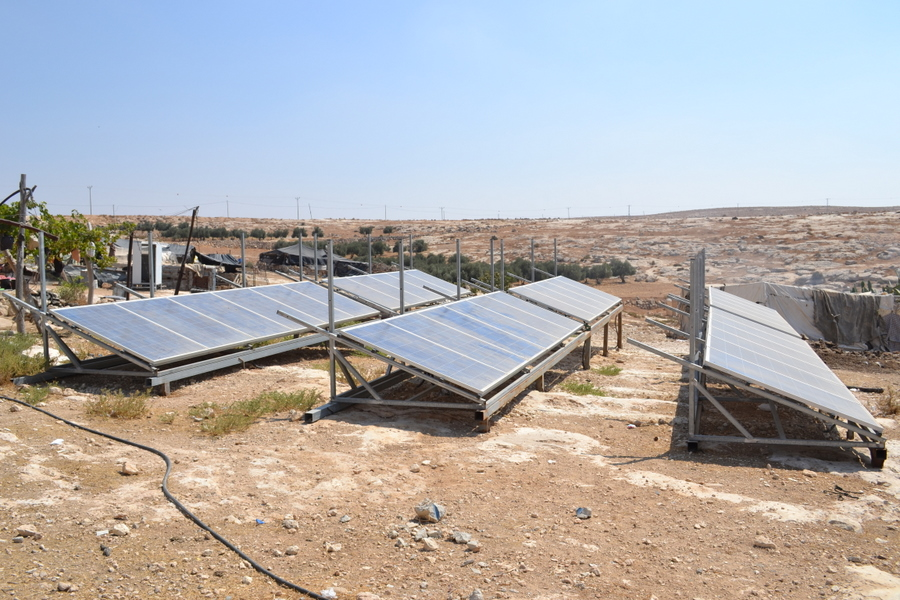 Solar panels in Palestinian village of Susya. Thankfully,  Israeli authorities haven\'t destroyed them.