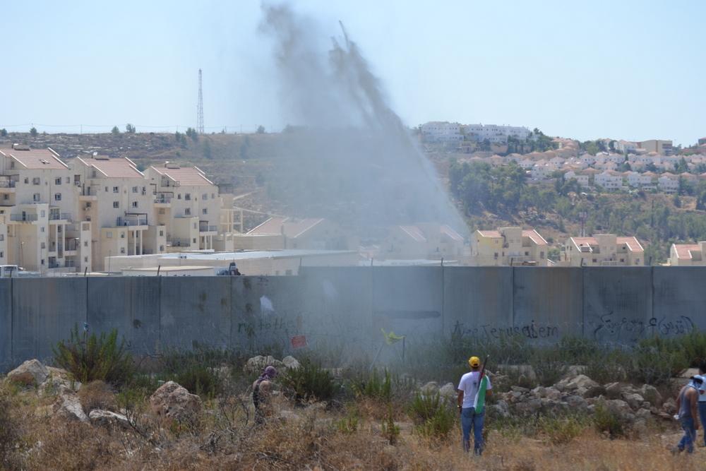 """Israelis fire \""""skunk\"""" water. Smells more like sewage."""