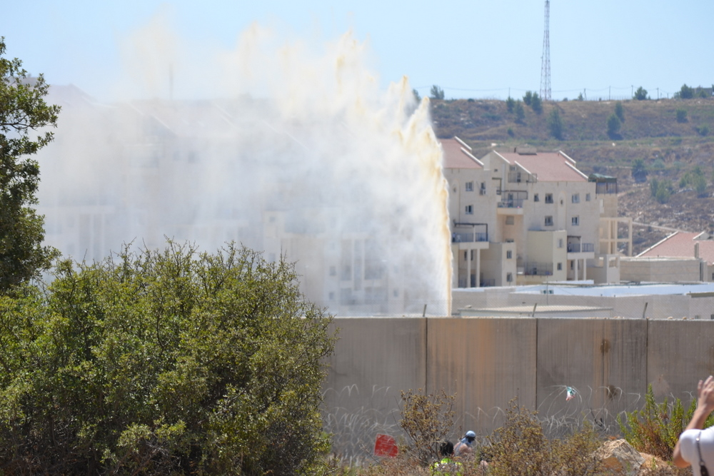 Some of the Palestinian protestors really got drenched.